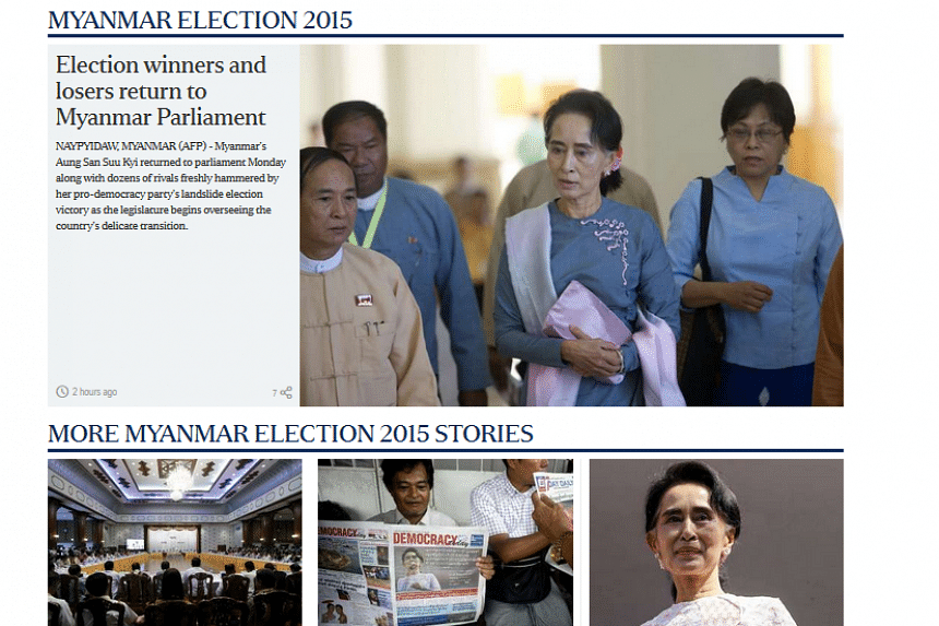 Screengrab of The Straits Times' website which carries news and developments related to Myanmar's historic vote on Nov 8, 2015.