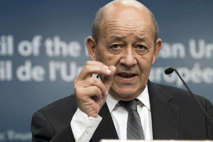French Defence Minister Jean-Yves Le Drian during a news conference of European Union foreign and defence ministers in Belgium on Nov 17, 2015.