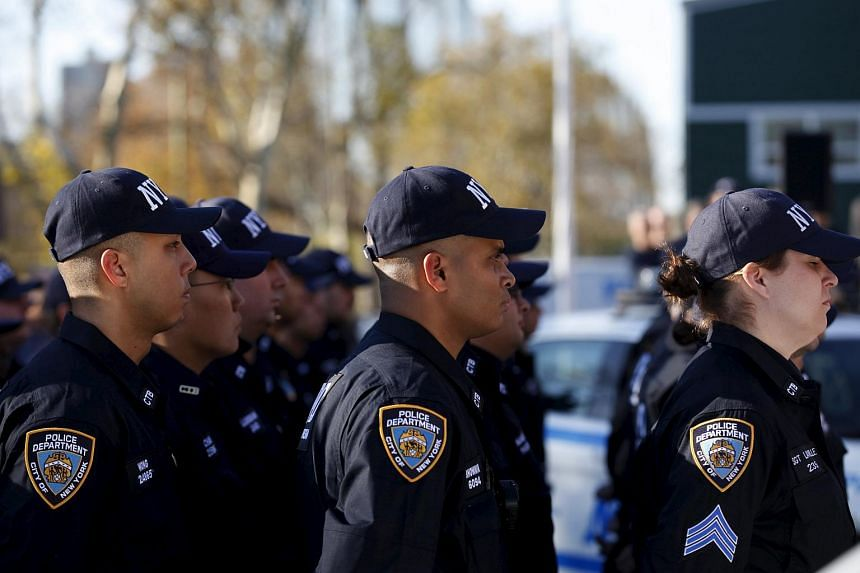 Members of NYPD's newly formed Critical Response Command unit standing outside their headquarters on Randall's Island in New York on Nov 16.