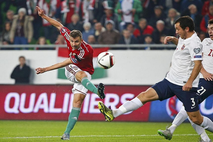 Tamas Priskin scoring the opener against Norway in the Groupama Arena. Hungary won the match 2-1 for a 3-1 aggregate result, which confirmed their place in the Euro 2016 Finals.