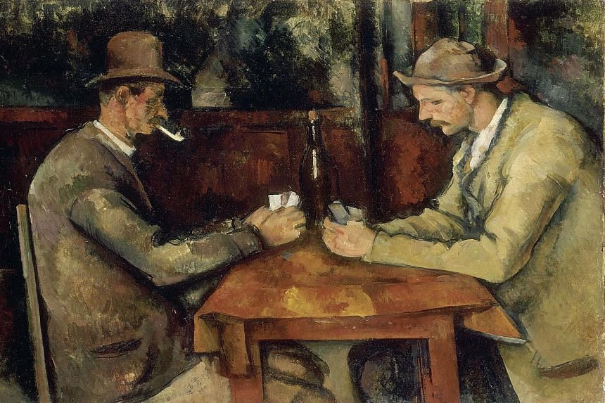 With open- source software, anyone can use images of famous works, such as Paul Cezanne's The Card Players (1890-1895, left), on anything - from T-shirts to stationery.