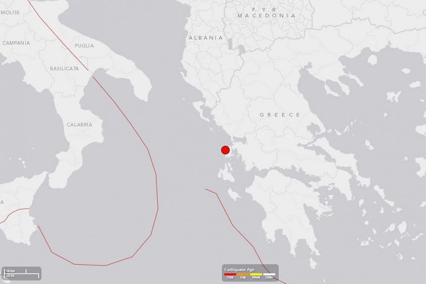 A screengrab from the US Geological Survey site showing the location of the earthquake off Greece's coast, on Nov 17, 2015.