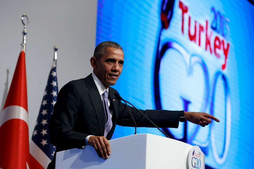 US President Barack Obama speaks at a news conference at the end of the G20 summit  in Antalya, Turkey on Monday.