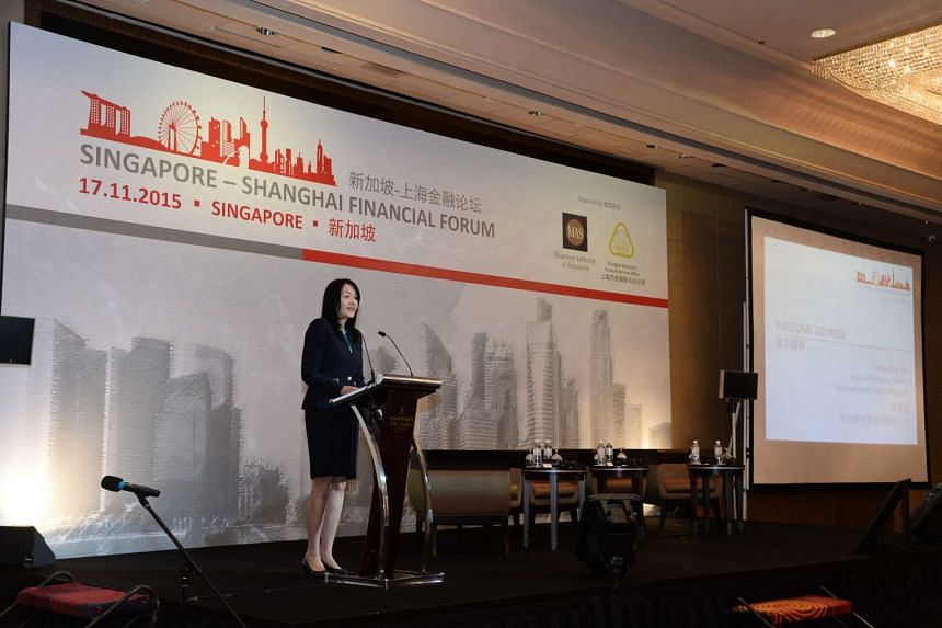 MAS deputy managing director Jacqueline Loh speaking at the inaugural Singapore-Shanghai Financial Forum at the Marina Orchard Hotel on Nov 17, 2015.