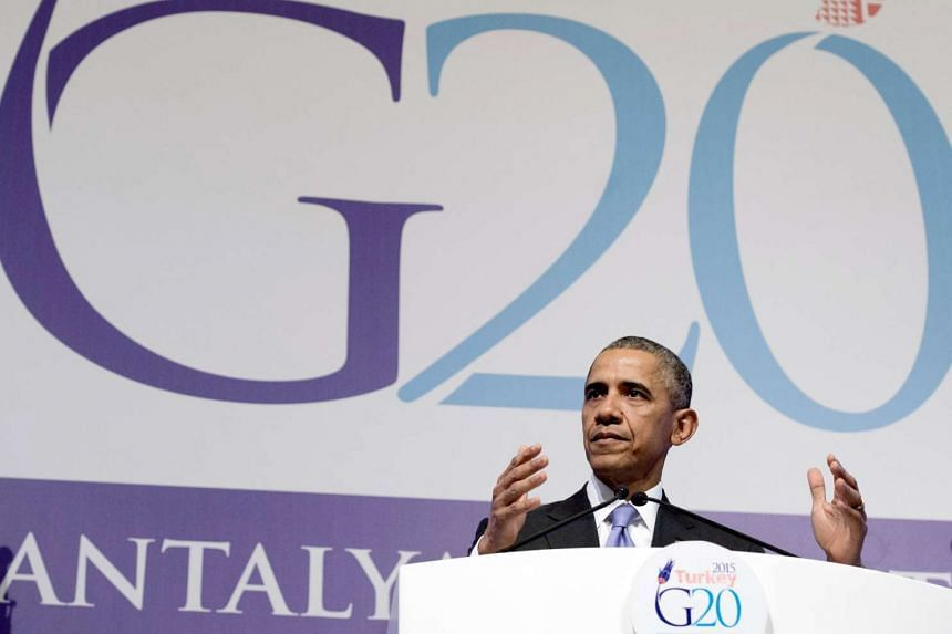 US President Barack Obama speaking at a press conference at the G20 summit in Antalya on Nov 16.