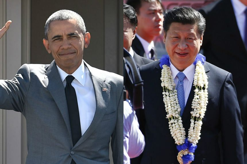 US President Barack Obama and Chinese President Xi Jinping arriving in the Philippines on Nov 17.
