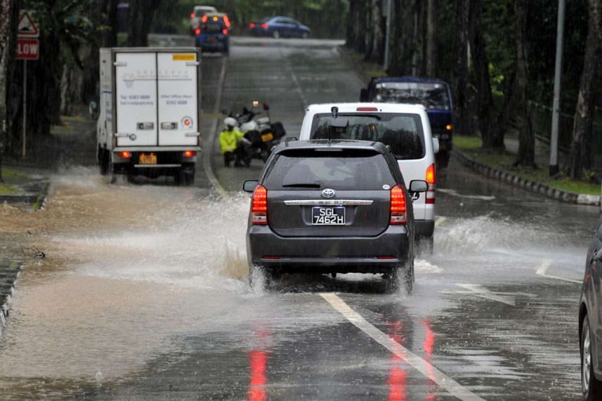 Flooded roads in the Bukit Timah area.