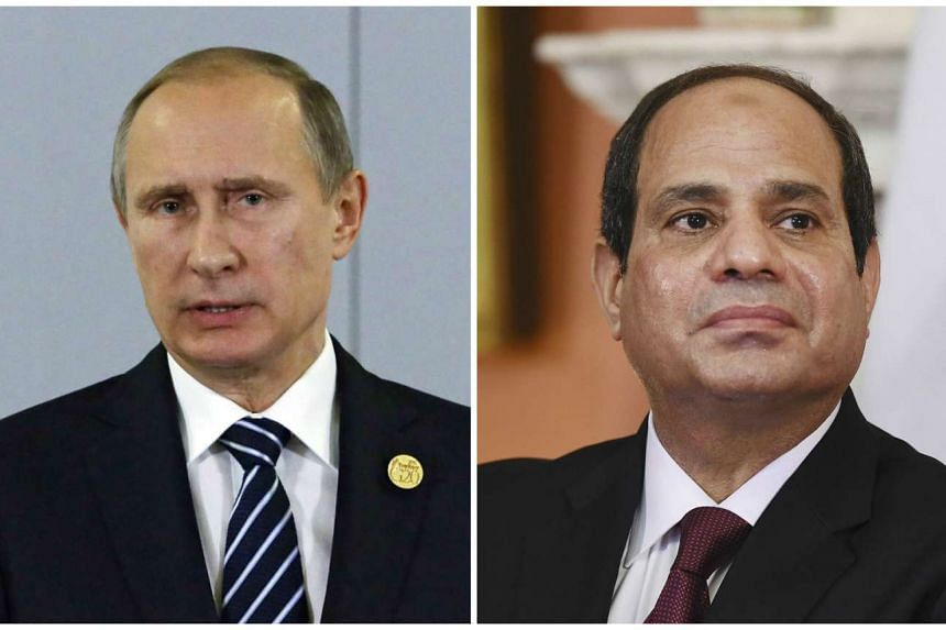 "Russian President Vladimir Putin (left) and Egypt's President Abdel Fattah al-Sisi have agreed on ""close cooperation"" between their security services."