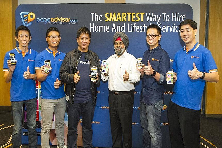 The Page Advisor management team - (from left) chief technology officer Ho Boon Peng; chief marketing officer Tan Jian Yong; chief executive officer Fabian Lim; board chairman Inderjit Singh; chief operations officer and chief legal officer Daniel Ta