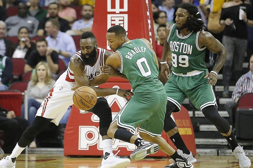 Avery Bradley, challenging the Houston Rockets' James Harden (left), says the Boston Celtics have worked hard to capitalise on forcing turnovers to score points.