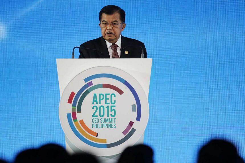 Indonesian Vice President Jusuf Kalla at the Apec CEO Summit in Manila on Nov 18, 2015.