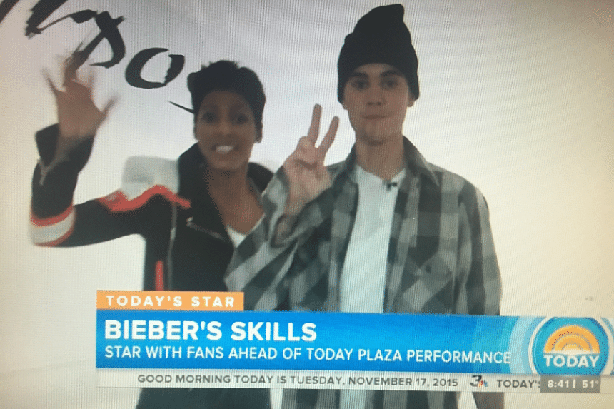 Justin Bieber appeared with Today co-host Tamron Hall in a taped segment following the live interview with Charlie Sheen. Bieber reportedly demanded a dressing room far from Sheen's.