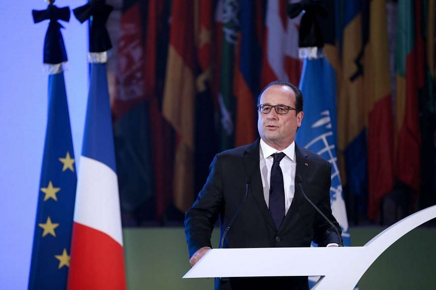 French President Francois Hollande delivers his Unesco speech.