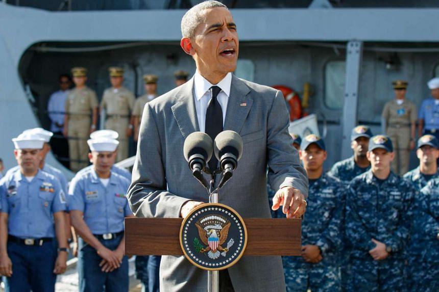 US President Barack Obama speaks after touring the BRP Gregorio del Pilar at a Naval station in Manila.
