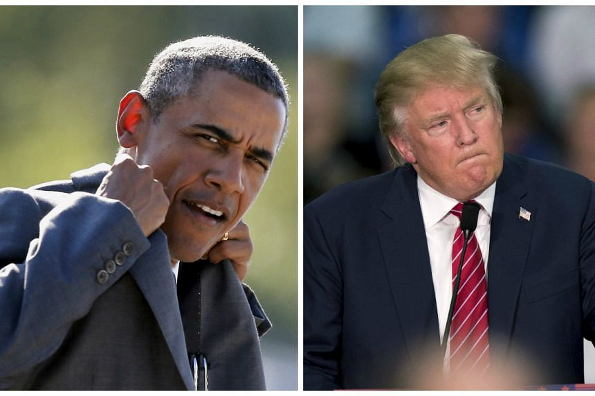 """President Barack Obama says running against Donald Trump (right) would have been """"fun""""."""