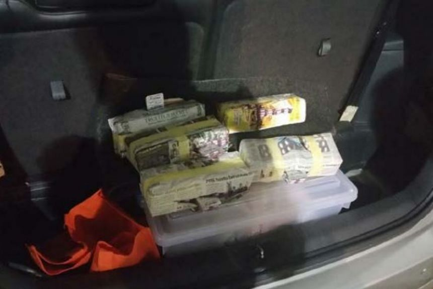 Five newspaper bundles containing more than 5,000 sleeping pills were hidden in the rear side panel of the car.