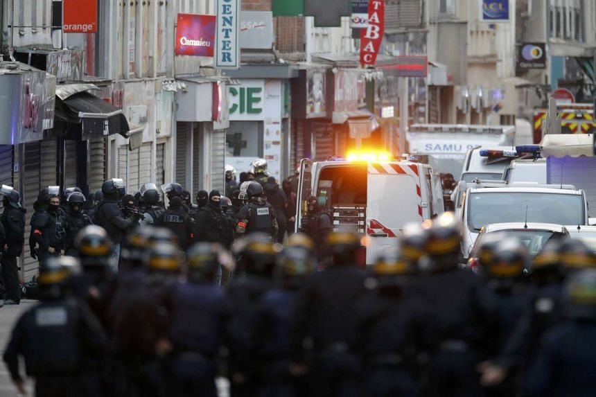 French special police forces securing the area in Saint-Denis.