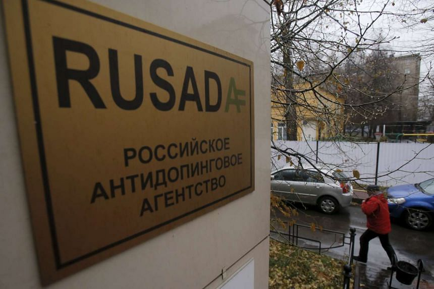 A man walking outside an office of the Russian Anti-Doping Agency (Rusada) in Moscow on Nov 10, 2015.