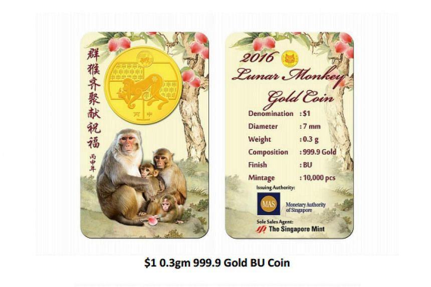 $1 0.3gm 999.9 Gold BU Coin