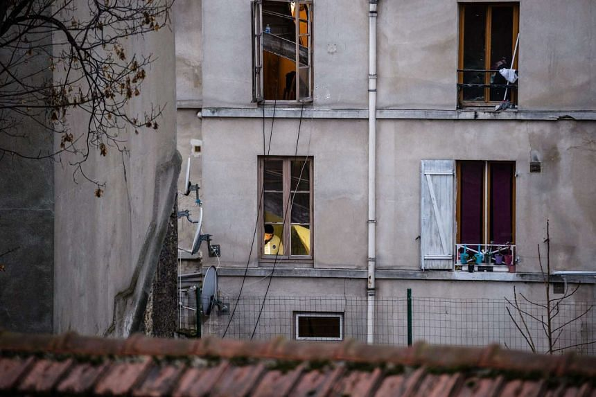 The backyard of the 8 rue du Corbillon building after the police raid in Saint-Denis, northern Paris.