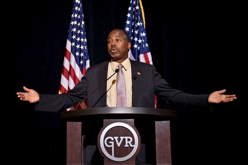 Republican presidential candidate Ben Carson speaking at a news conference in Nevada on Nov 16.