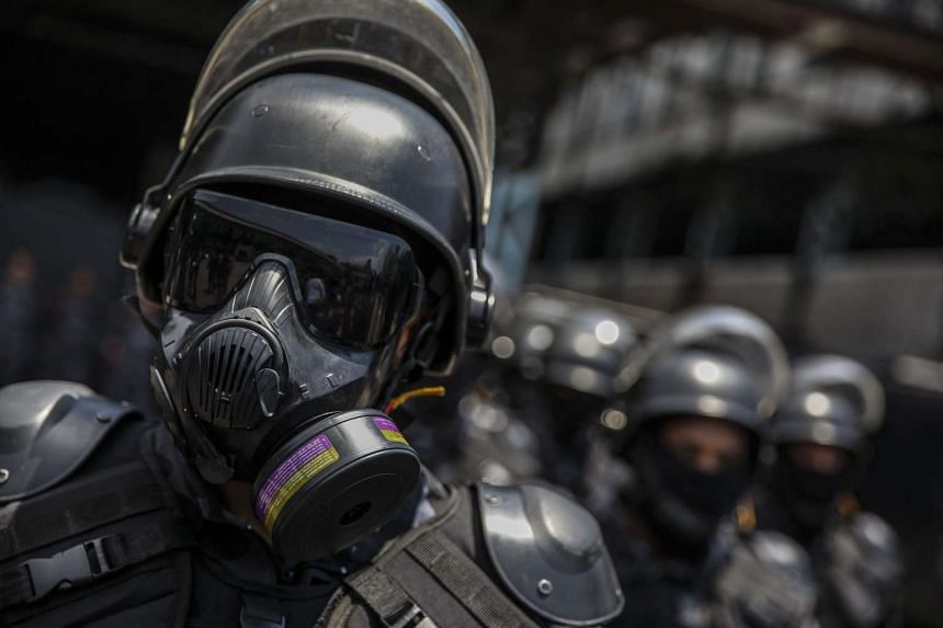 Brazilian antiriot Batallion of the Military Police, and French National Security Police of the Republic participate in a Rio military training session for the upcoming Rio 2016 Olympics, in Rio de Janeiro, Brazil, on Nov 19, 2015.