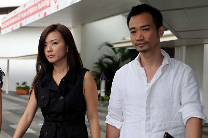 Serina Wee and her husband Kenny Low leaving the State Courts after the sentencing.