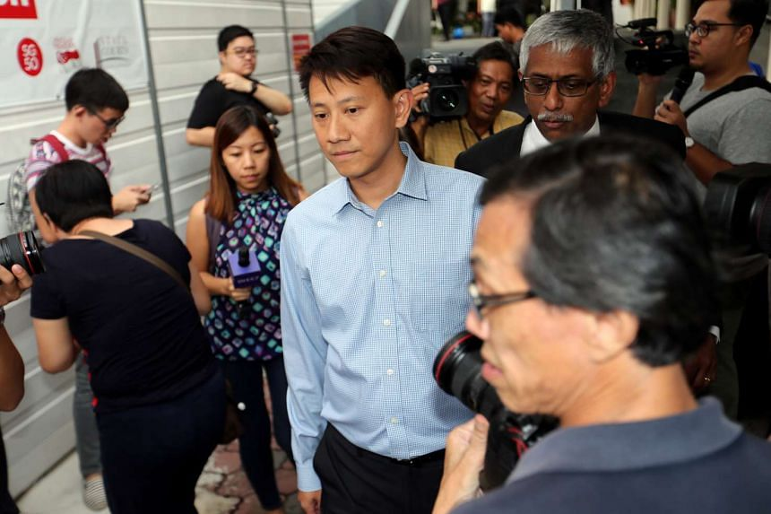 Tan Ye Peng leaving the court after the sentencing.