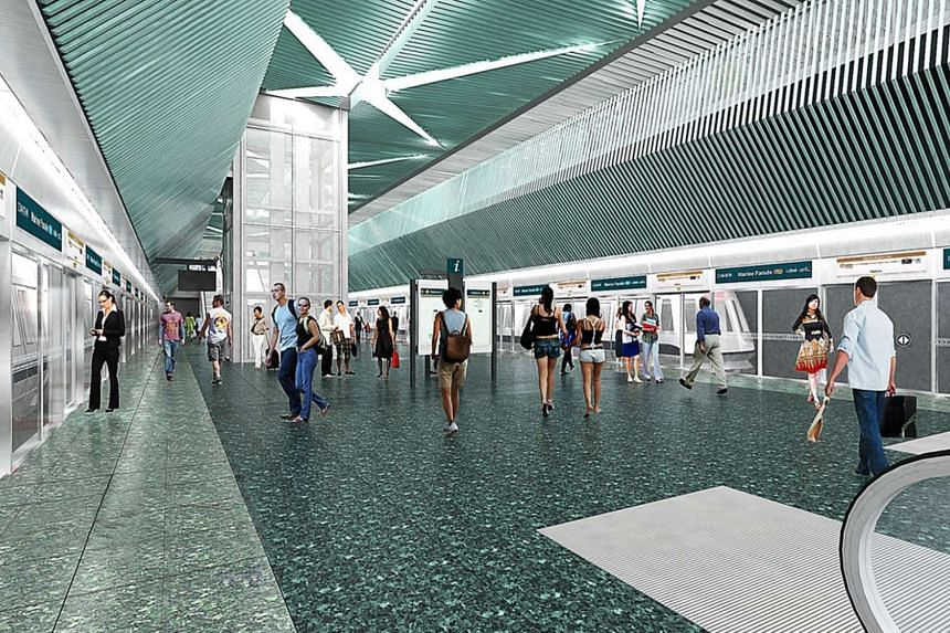 An artist's impression of the Thomson-East Coast Line's Marine Parade station.