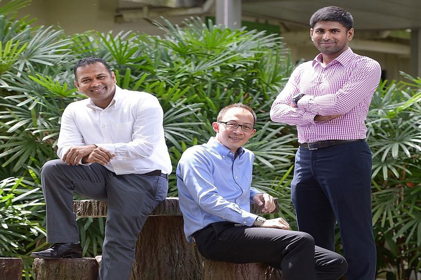 (From left) Singapore Environment Council assistant executive director Gerard Christopher, executive director Edwin Seah, and head of eco-certifications and lead environmental engineer Kavickumar Muruganathan.