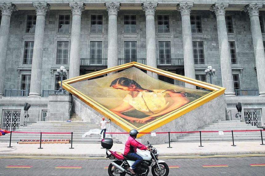 An artwork being prepared outside the National Gallery Singapore on Nov 19.
