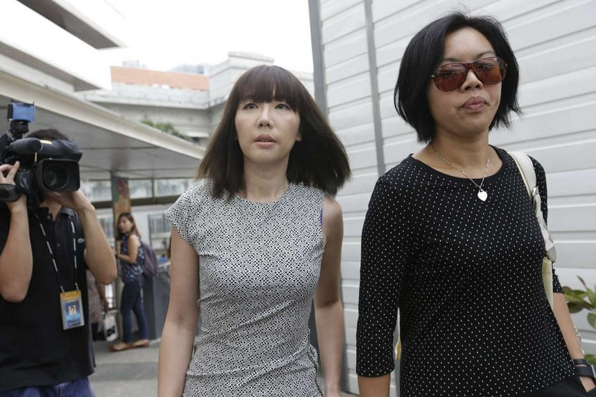 Sharon Tan (left) arriving at the State Courts on Nov 20.