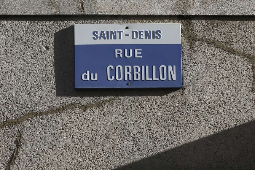 "A street sign reading ""Rue Corbillon"" where French Police special forces raided an apartment."