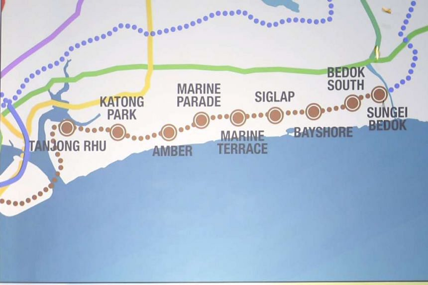 The alignment and nine station locations of Singapore's sixth rail line, the Thomson-East Coast Line (TEL).