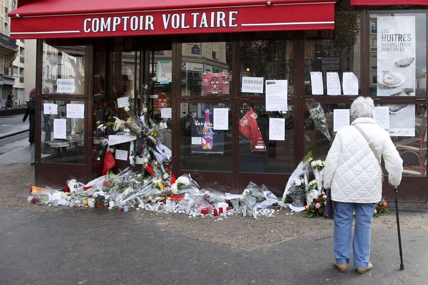 The Comptoir Voltaire cafe, one of the sites of the deadly attacks in Paris, France, Nov 17, 2015.