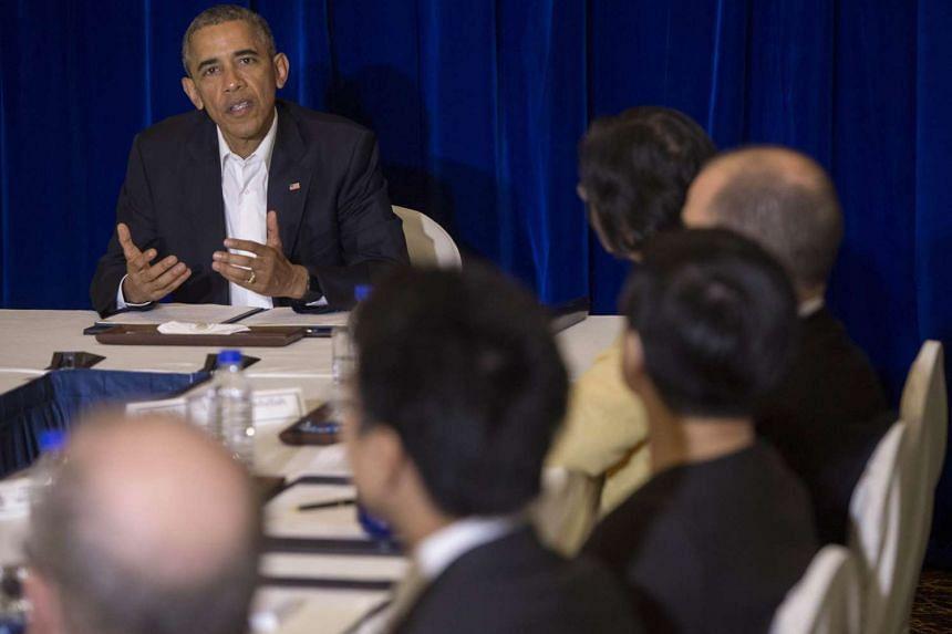 US President Barack Obama speaks during a meeting in Kuala Lumpur on Nov 21, 2015.