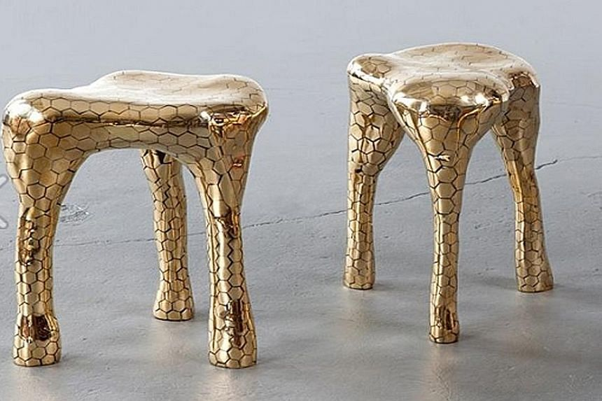 """Design objects such as """"Hex"""" stools by artist-duo Haas brothers cost US$30,000 (S$42,321), up from US$3,000 previously."""