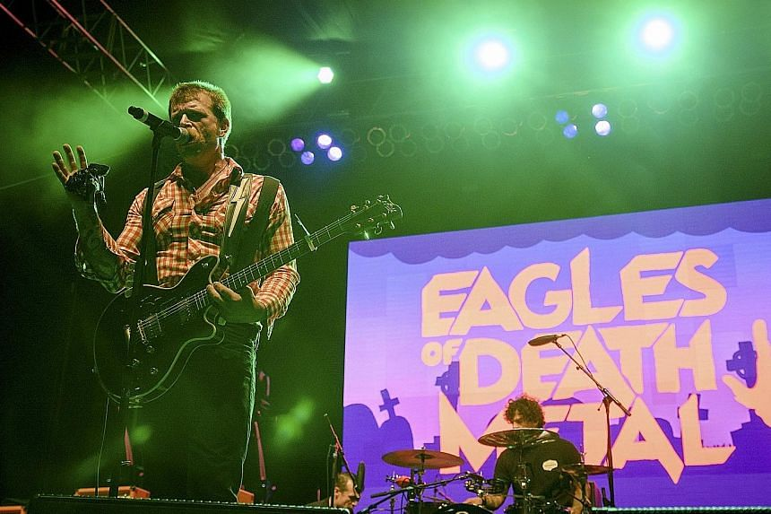 Jesse Hughes (far left) of Eagles Of Death Metal performing with drummer Joey Castillo (left) in Los Angeles in a photo taken last year.