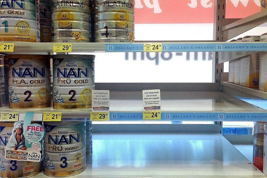 Shelves at a Sydney shop emptied of an organic milk formula. As local anger grew, some parents posted videos and photos online showing customers buying dozens of tins at a time. Australian premium milk formula has become a prized product in China sin