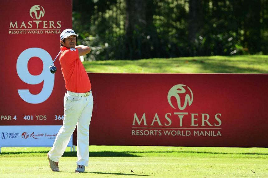 Akinori Tani of Japan tees off during the second round of the Resort World Manila Masters.