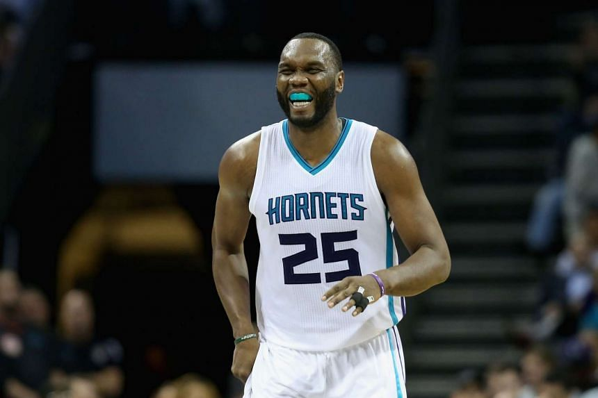 Al Jefferson of the Charlotte Hornets reacting after a play during their game against the Chicago Bulls at Time Warner Cable Arena on Nov 3, 2015.