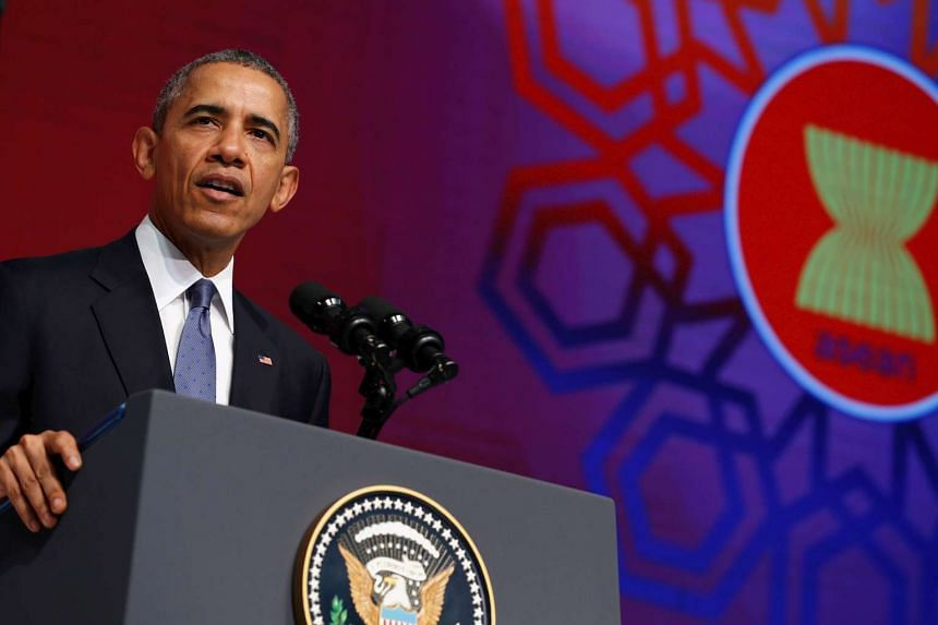 US President Barack Obama giving a speech at the Asean Business and Investment Summit in Kuala Lumpur, Malaysia on Nov 21, 2015.