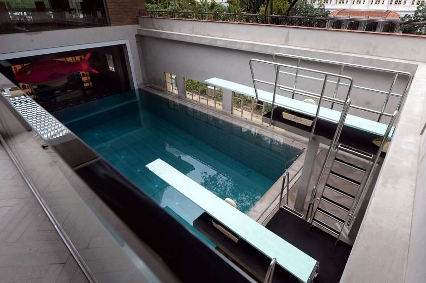 A new 3.8m-deep diving pool (above) built inside the South Beach Club pays homage to the Britannia Club's former Olympic-sized pool.