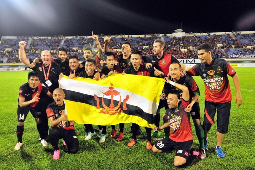 Brunei DPMM celebrate capturing their first S-League title.