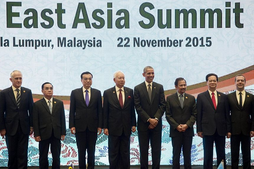 Asia-Pacific leaders in a family photo during the East Asia Summit at the Kuala Lumpur Convention Centre in Kuala Lumpur on Nov 22, 2015.