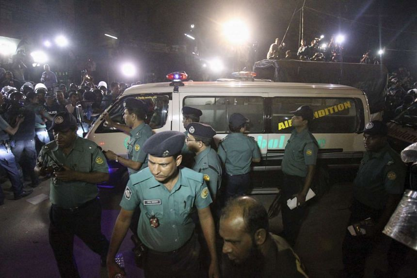 An ambulance carrying the body of Salahuddin Quader Chowdhury leaves Dhaka Central Jail after his execution on Nov 22, 2015.