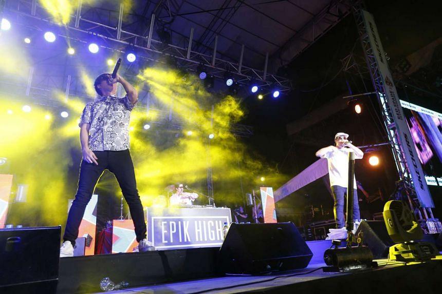 Korean hip-hop trio Epik High performing at the F1 Pit Building during the Skechers Sundown Festival on Nov 21, 2015.