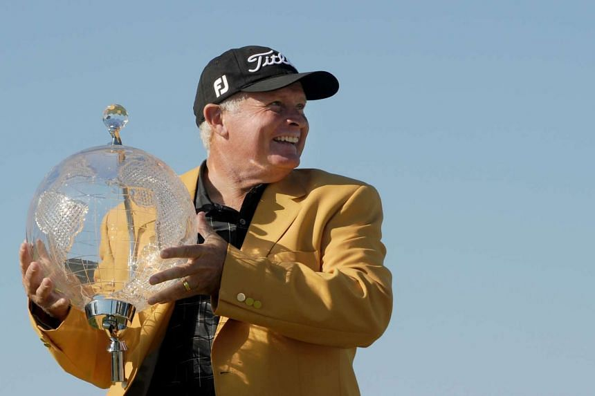 Australian golfer Peter Senior posing after winning the Australian Masters at Huntingdale Golf Club in Melbourne on Nov 22, 2015.