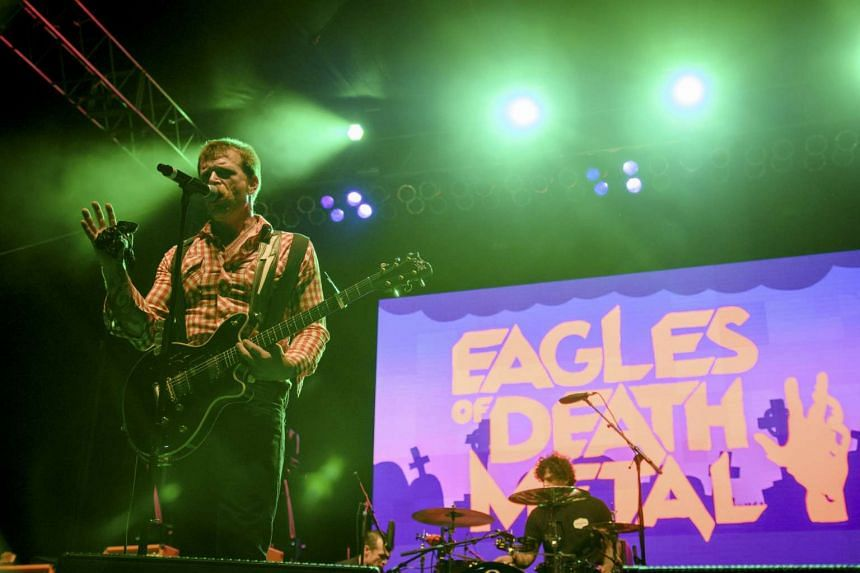 Jesse Hughes (left) of the rock band Eagles of Death Metal performs with drummer Joey Castillo at Festival Supreme at Shrine Auditorium in Los Angeles, California in this October 25, 2014 file photo. The California-based rock band Eagles of Death Met