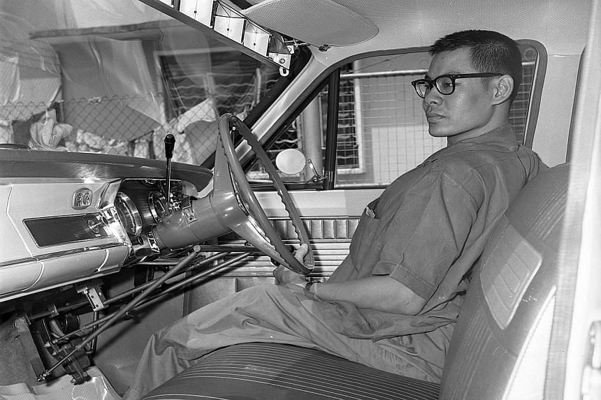 Mr Michael Yap, in his specially fitted car, was paralysed after a bomb splinter ripped into his spine during World War II.